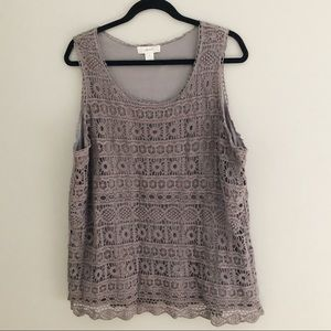 CJ Banks Tops - CJBanks Sleeveless Eyelet Lined Gray Tank